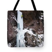 Ice Climbing The Scepter In Hyalite Canyon Tote Bag