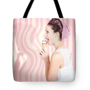 Ice Cream Pin-up Poster Girl Licking Waffle Cone Tote Bag