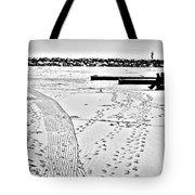 Ice Fishing On Lake Michigan Tote Bag