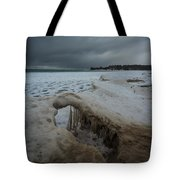 Ice Formations At Cawaja Beach Tote Bag