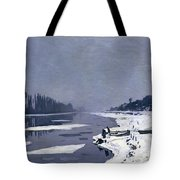 Ice On The Seine At Bougival Tote Bag