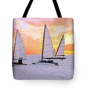 Ice Sailing On The Gouwzee In The Countryside From The Netherlan Tote Bag