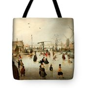 Ice Skating In A Village Tote Bag