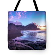 Iceland Beach Sunrise At Stokksnes Tote Bag