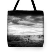Iceland Black And White Landscape Haukadalur Tote Bag