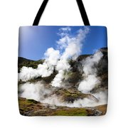 Iceland Geothermal Area With Steam From Hot Springs Tote Bag