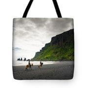 Icelandic Horses On The Beach In Vik Iceland Tote Bag