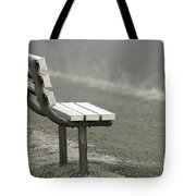 Icy Bench In The Fog Tote Bag