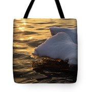 Icy Gold And Silk - Luminous Icicles Reflected On Glossy Water Tote Bag