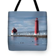 Icy Lighthouse Tote Bag