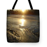 Icy Mississippi River Bank At Sunrise Tote Bag