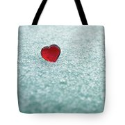 Icy Red Heart Tote Bag
