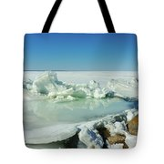 Icy Sculptures On Lake Simcoe Tote Bag