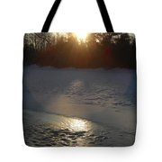 Icy Sunrise Reflection Tote Bag