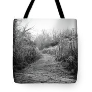 Icy Trail In Black And White Tote Bag