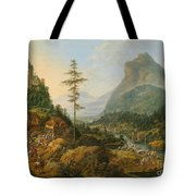 Idealized River Landscape With A Hunting Party Tote Bag