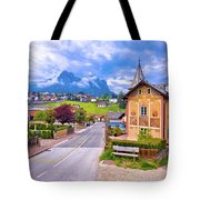Idyllic Alpine Town Of Kastelruth Architecture And Mountains Vie Tote Bag