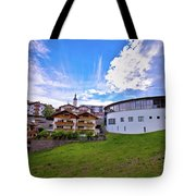 Idyllic Alpine Town Of Kastelruth On Green Hill View Tote Bag