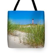 Idyllic Dunes And Lighthouse At North Sea Tote Bag