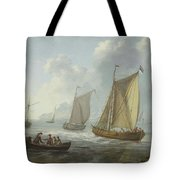 Idyllic Lake Shore With Two Boats Tote Bag