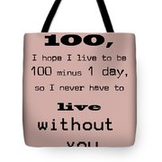 If You Live To Be 100 Tote Bag