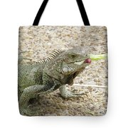 Iguana Eating Lettuce With His Tongue Sticking Out Tote Bag