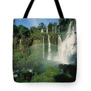 Iguazu Waterfalls With A Rainbow Tote Bag