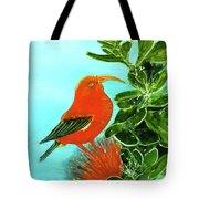 IIwi Scarlet Honeycreeper Bird #54 Tote Bag