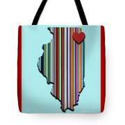 Illinois With Love Geometric Map Tote Bag