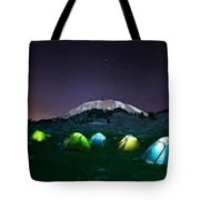 Illuminated Yellow Camping Tent At Night Tote Bag