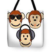 Illustration Of Cartoon Three Monkeys See Hear Speak No Evil Tote Bag