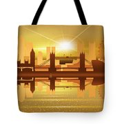 Illustration Of City Skyline - London  Sunset Panorama Tote Bag