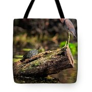 Immature Tri-colored Heron And Peninsula Cooter Turtle Tote Bag