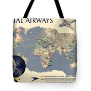 Imperial Airways Vintage Travel Advertising Poster World Map - Small world map poster