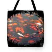 Imperial Koi Pond With Black Swirling Frame Tote Bag