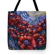 Impressionist Field Poppies Tote Bag