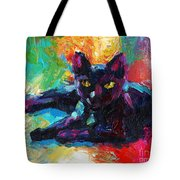 Impressionistic Black Cat Painting 2 Tote Bag