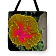Impressionistic Hibiscus Yellow And Red  Tote Bag
