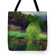 Impressionistic Oil Landscape Lake Painting Tote Bag