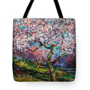 Impressionistic Spring Blossoms Trees Landscape Painting Svetlana Novikova Tote Bag