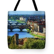 Impressions Of Florence - Long Blue Shadows On The Arno River Tote Bag