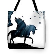 In A Dream, Unicorn, Pegasus And Castle Modern Minimalist Style Tote Bag