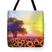 In Awe Of Sunflowers, Sunset Fields Tote Bag