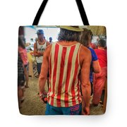 In Line With Red White And Blue Tote Bag
