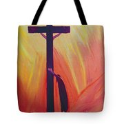In Our Sufferings We Can Lean On The Cross By Trusting In Christ's Love Tote Bag by Elizabeth Wang