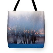 In The Fog At Sunrise Tote Bag