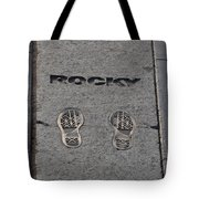 In The Footsteps Of Rocky Tote Bag by Bill Cannon