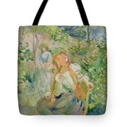 In The Garden At Roche Plate Tote Bag by Berthe Morisot