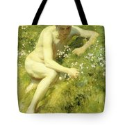 In The Meadow Tote Bag by Henry Scott Tuke