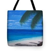 In The Shade Of A Palm Tote Bag